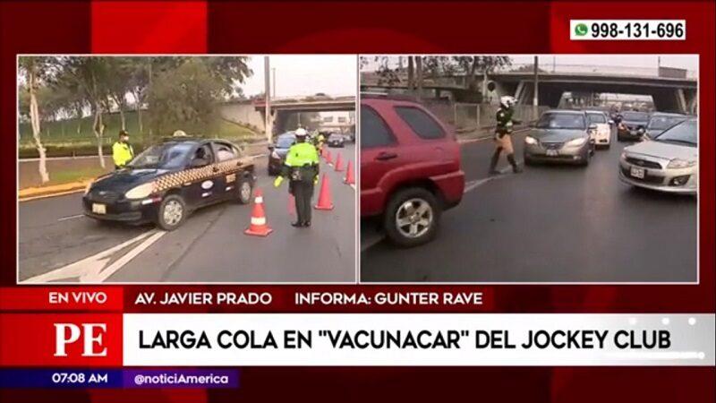 Surco: Caos vehicular y largas colas en el Jockey Club para ingresar al «Vacunacar»
