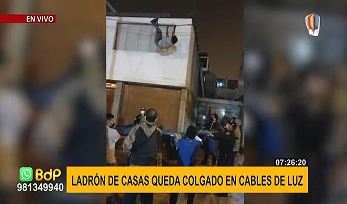 SJM: Ladrón queda tendido en cables de luz luego de intentar robar una vivienda (Video)