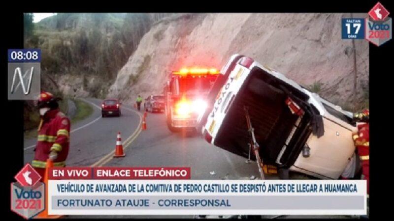 Ayacucho: Camioneta de campaña de Pedro Castillo se vuelca cuando se dirigía a Huamanga