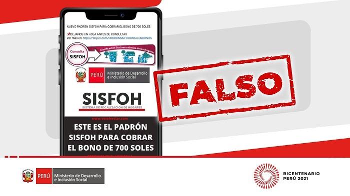 Bono de S/.350: Ministerio de Desarrollo advierte no caer en estafas