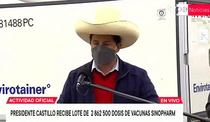 Castillo anuncia la llegada de nuevo lote de vacunas chinas Sinopharm