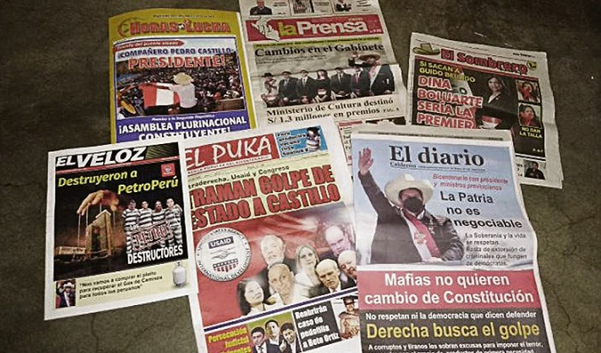 Circulan seis diarios a favor de Castillo y Cerrón. Y se viene el canal de TV