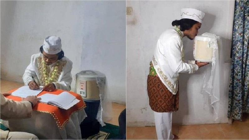 Matrimonio: hombre «se casa» con su olla arrocera y luego se divorcia [FOTOS]