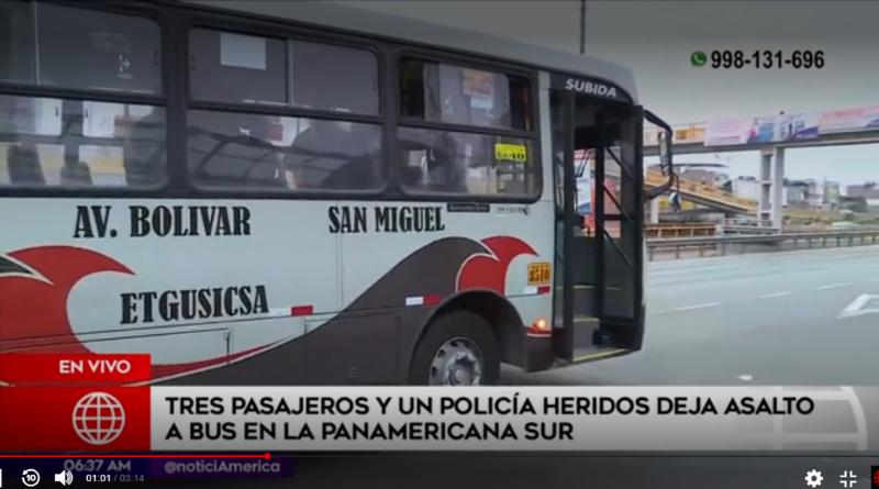 Delincuente balea a cuatro personas en asalto a bus