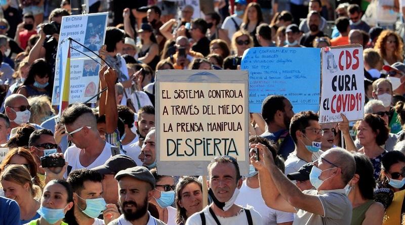 Covid-19: un millar marcha en España contra uso de mascarillas [VIDEO]