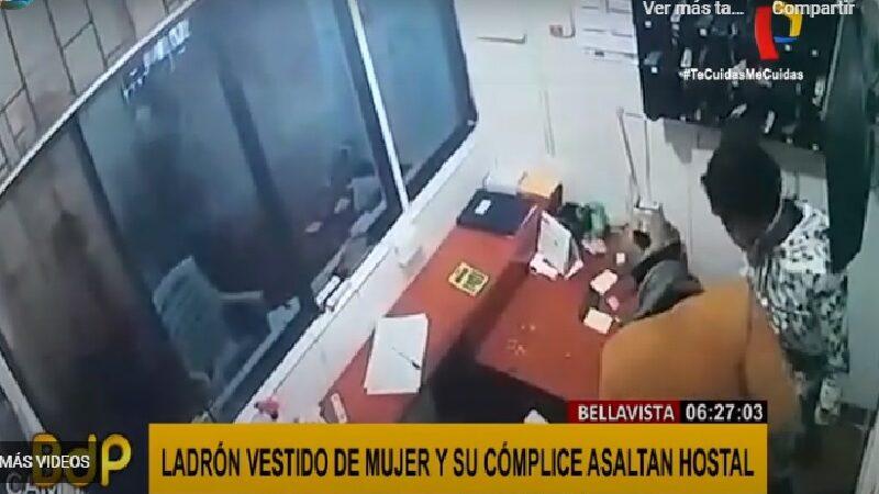 Delincuente vestido de mujer asalta hostal en Bellavista