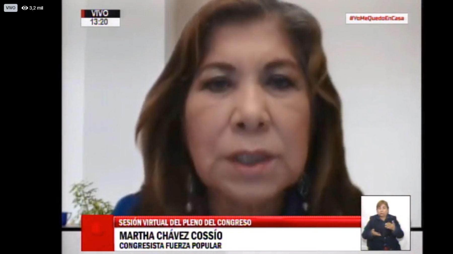 Congreso: Martha Chávez denuncia que es «silenciada» durante sus intervenciones