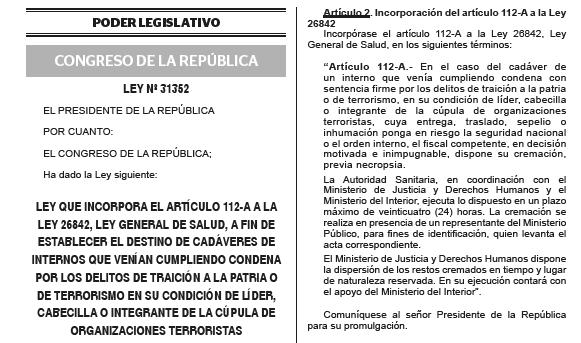 Diario oficial publica norma que permite cremación de restos de terroristas